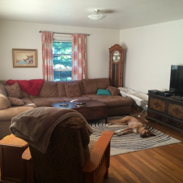 New family room layout with curtains, antique clock, and hung pictures