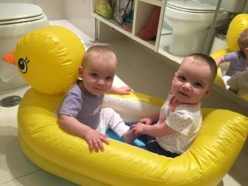 Naomi & Norah in their ducky bath tub